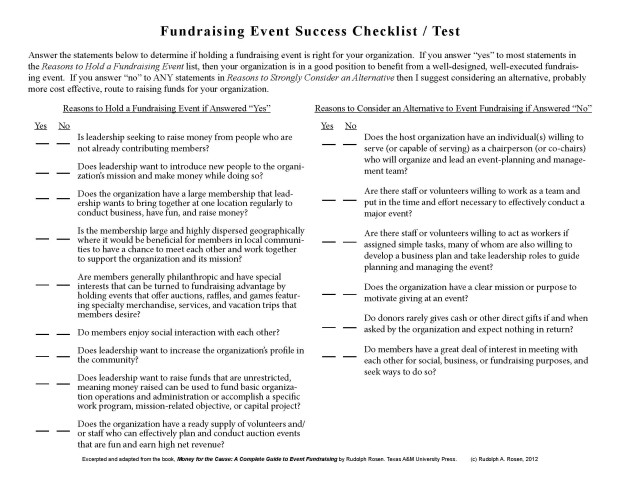 event fundraising success checklist test rudolph rosen